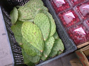 Cactus leaves and raspberries