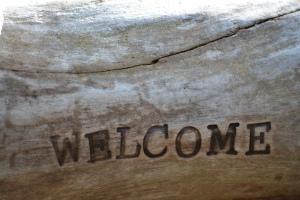 welcome woodburned
