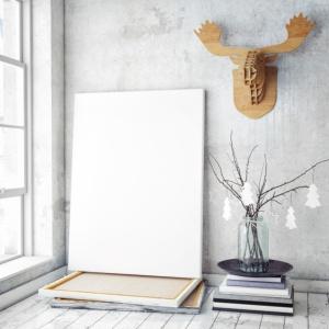 mock up poster frame in hipster interior background,christamas decoration,